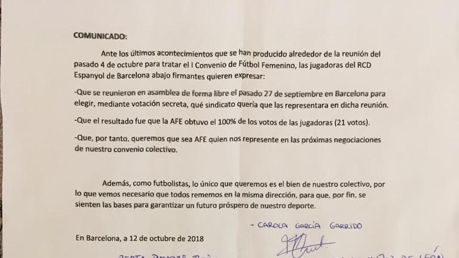 Comunicat signat per les jugadores de l'Espanyol