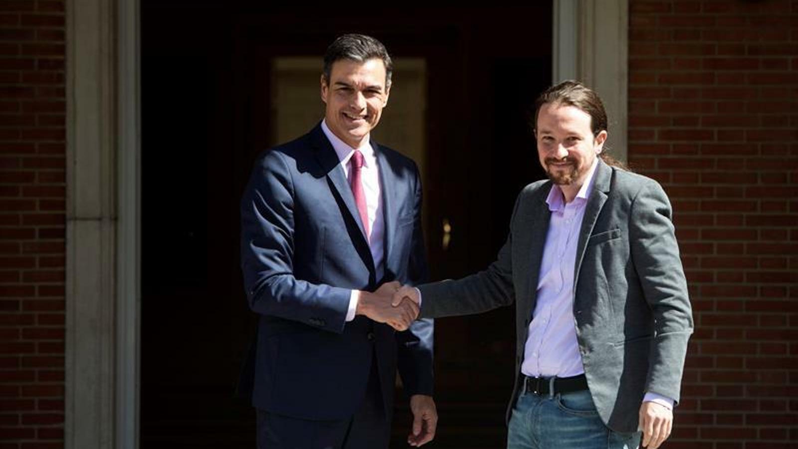 Pedro Sánchez i Pablo Iglesias, a la Moncloa / EFE