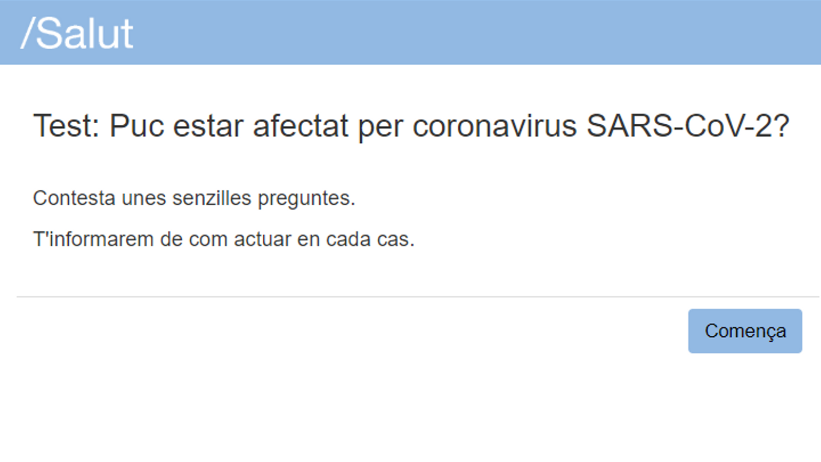 Captura del test que ha elaborat Salut.