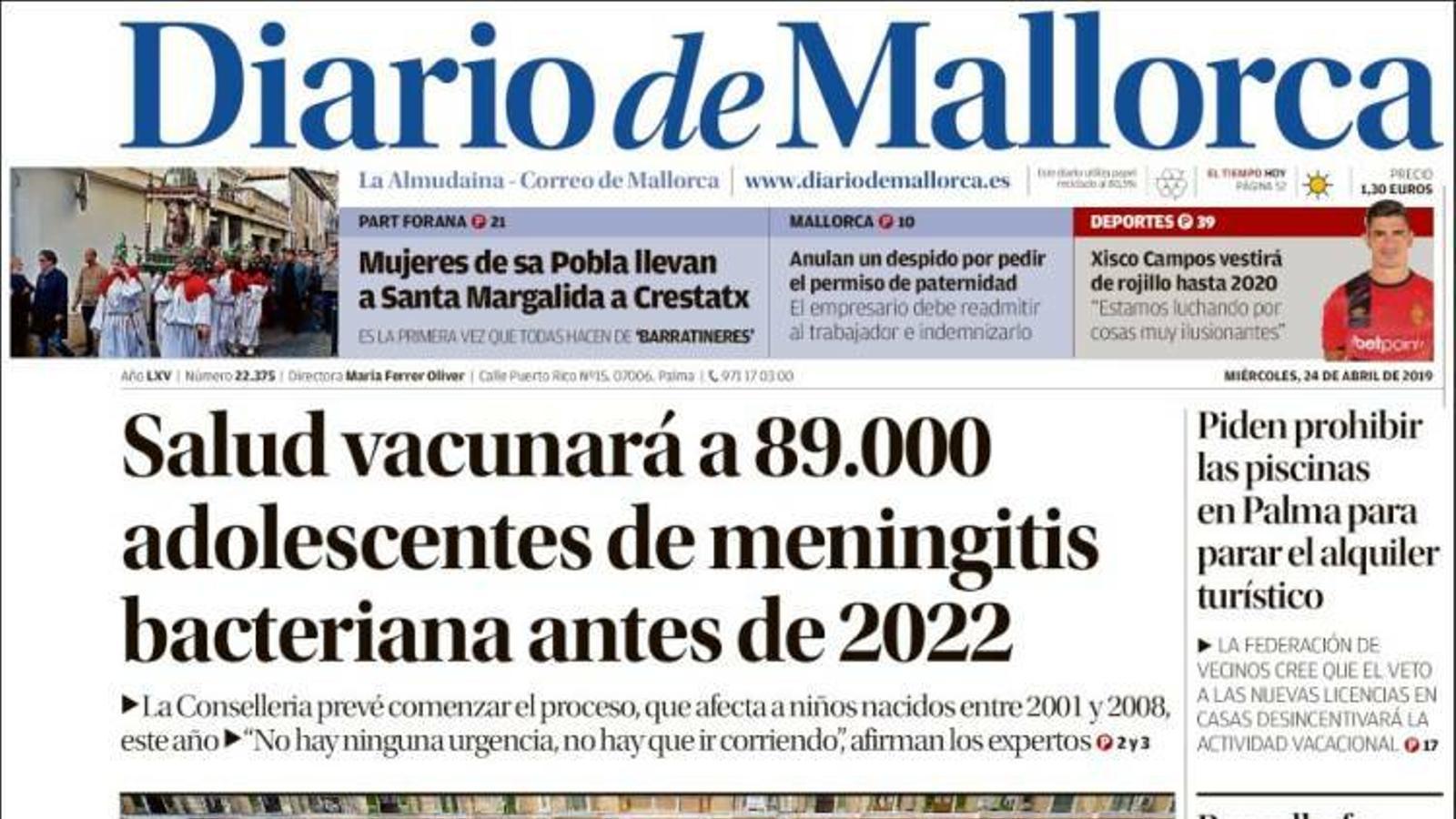 """""""Salut vacunarà 89.000 adolescents de meningitis bacteriana abans de 2022"""", portada de 'Diario de Mallorca'"""