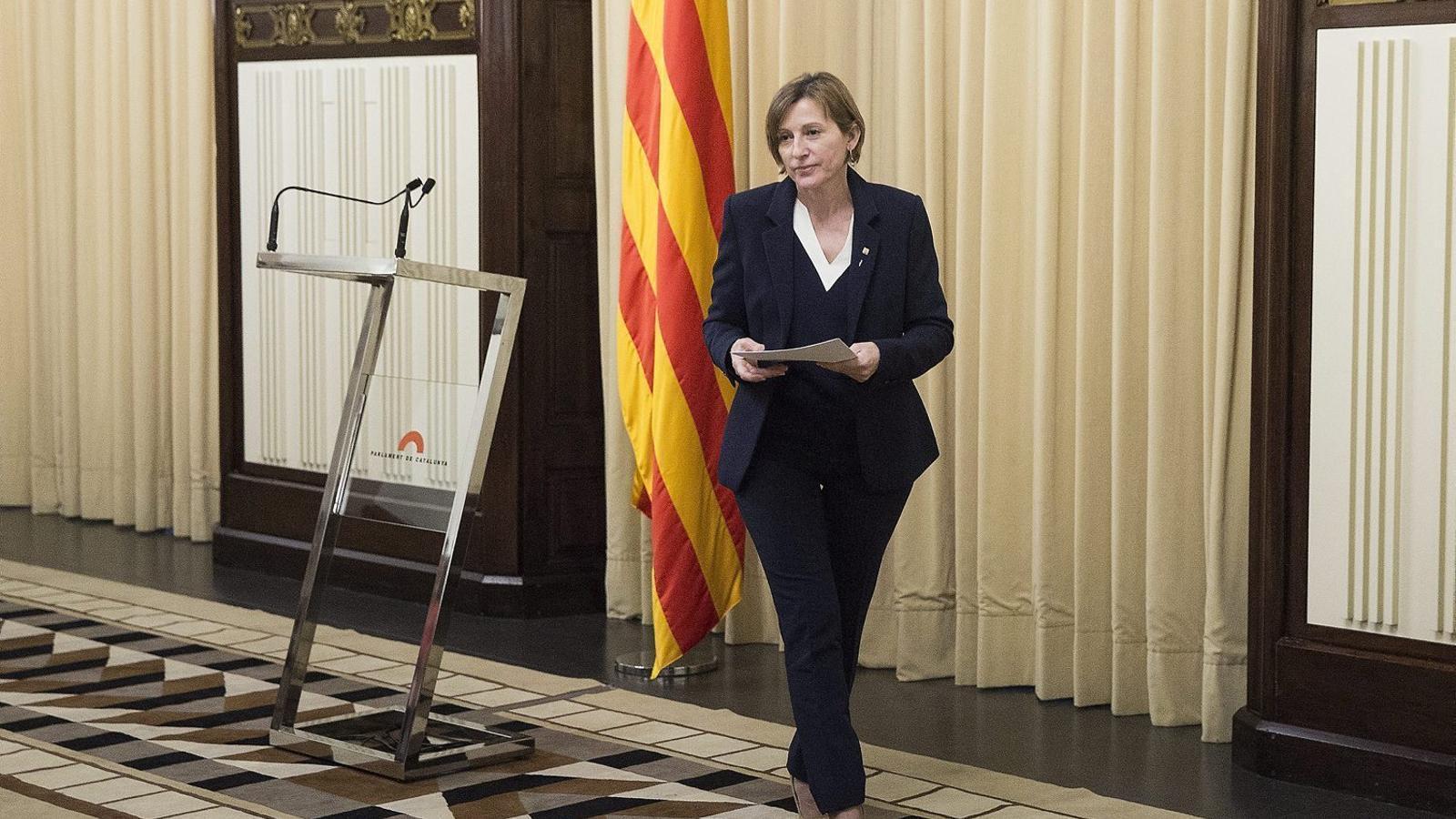 La presidenta del Parlament, Carme Forcadell, després de declarar al TSJC.
