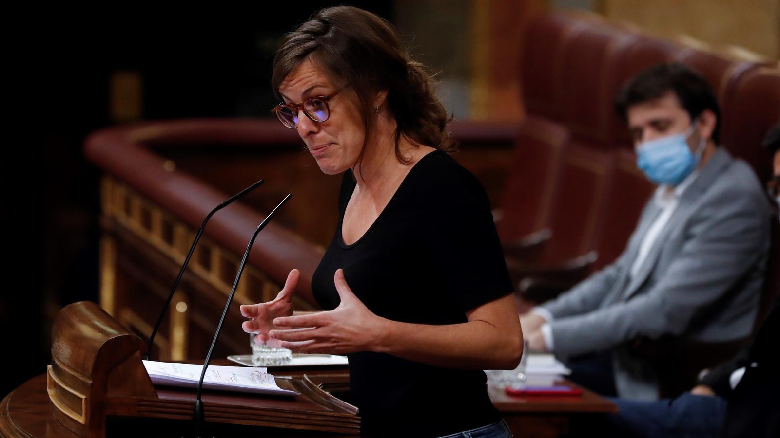 La diputada de la CUP Mireia Vehí, en una intervenció al Congrés