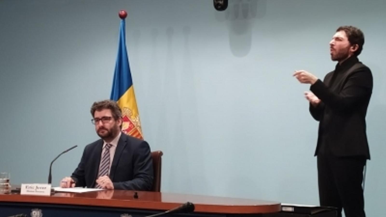 El ministre portaveu, Eric Jover, durant la roda de premsa. / SFG