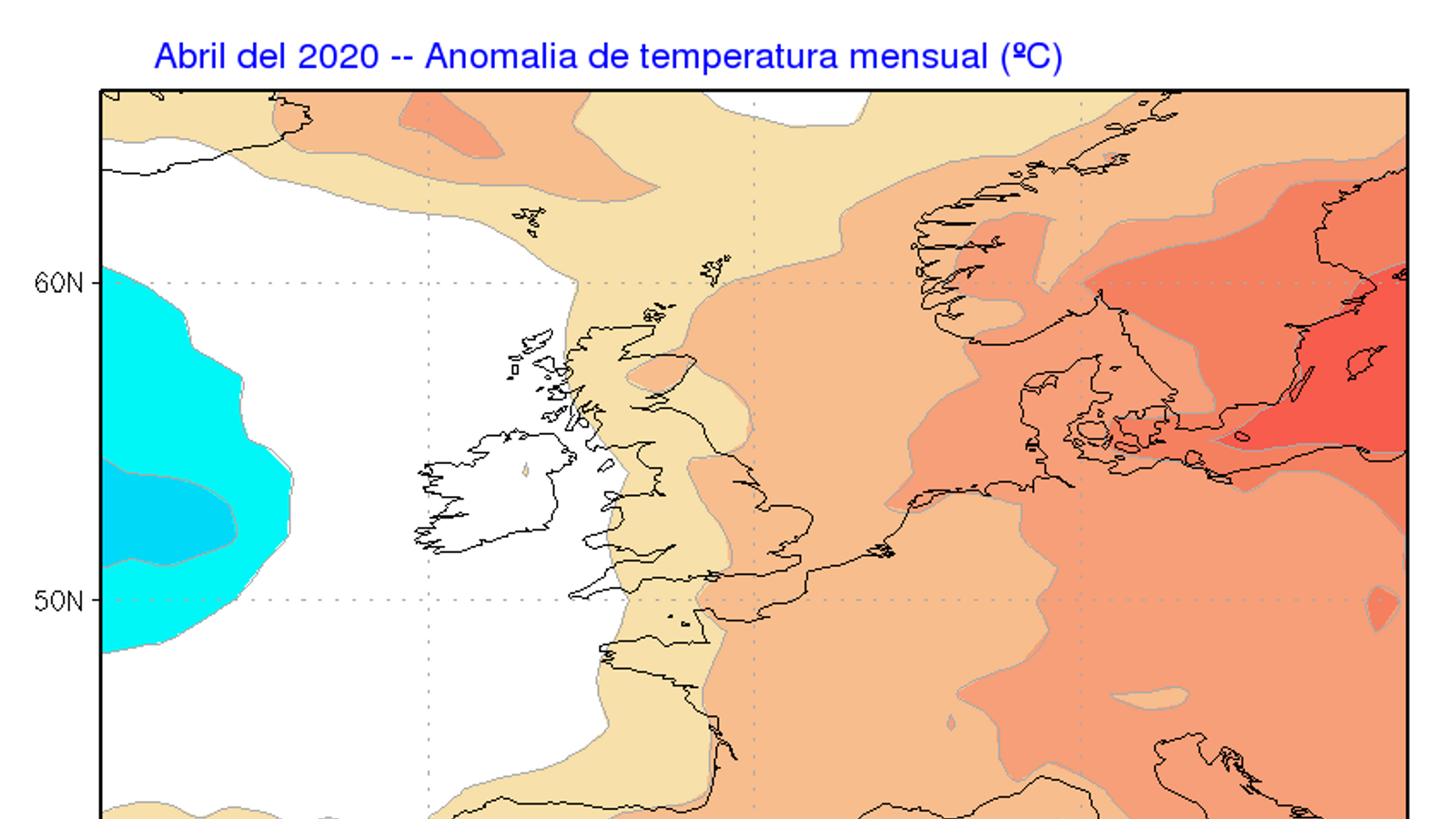 Anomalia de temperatura mensual prevista de cara a l'abril