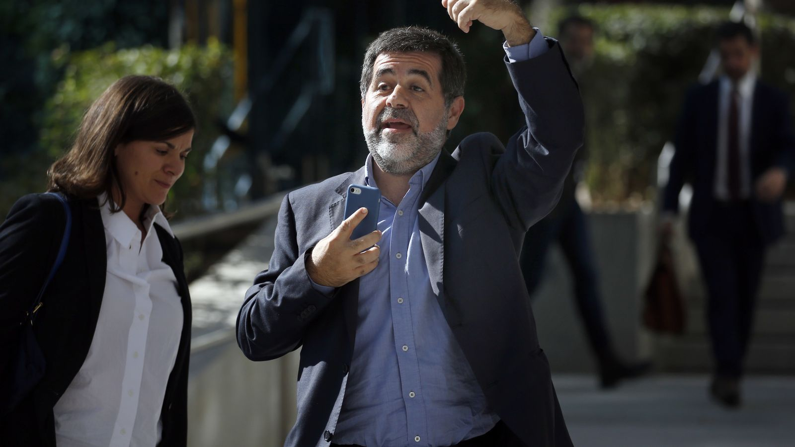 Jordi Sànchez en sortir de declarar de l'Audiència Nacional, a Madrid, el 16 d'octubre del 2017