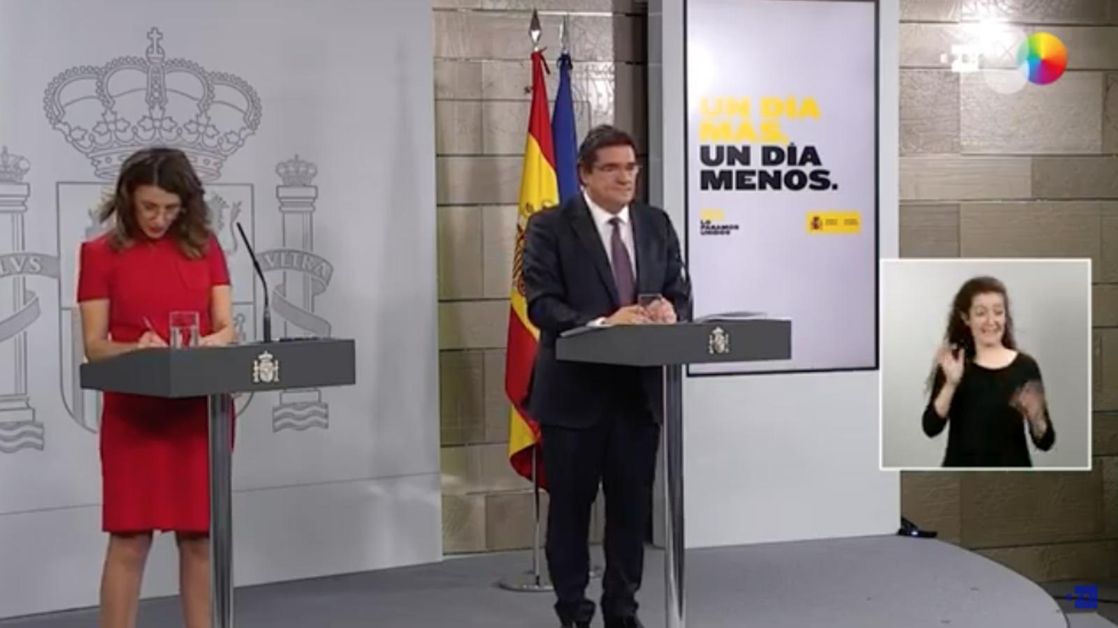 Roda de premsa dels ministres de Treball, Yolanda Díaz, i de Seguretat Social, José Luis Escrivá