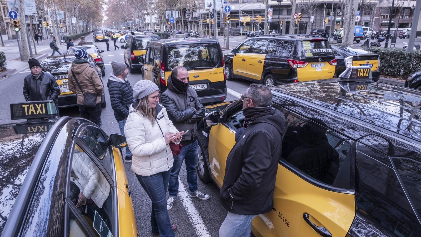 Taxistes barcelonins durant les protestes del gener del 2019.