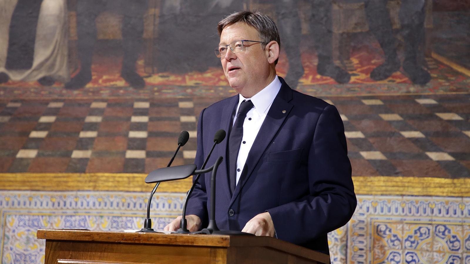 El president valencià Ximo Puig durant un discurs al Palau de la Generalitat