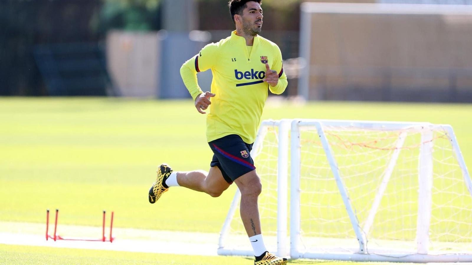 Luis Suárez, en una sessió d'entrenament a la Ciutat Esportiva