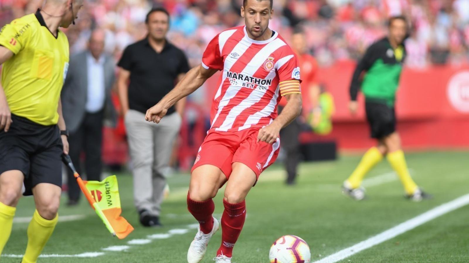 Àlex Granell, durant el Girona-Eibar d'aquesta temporada