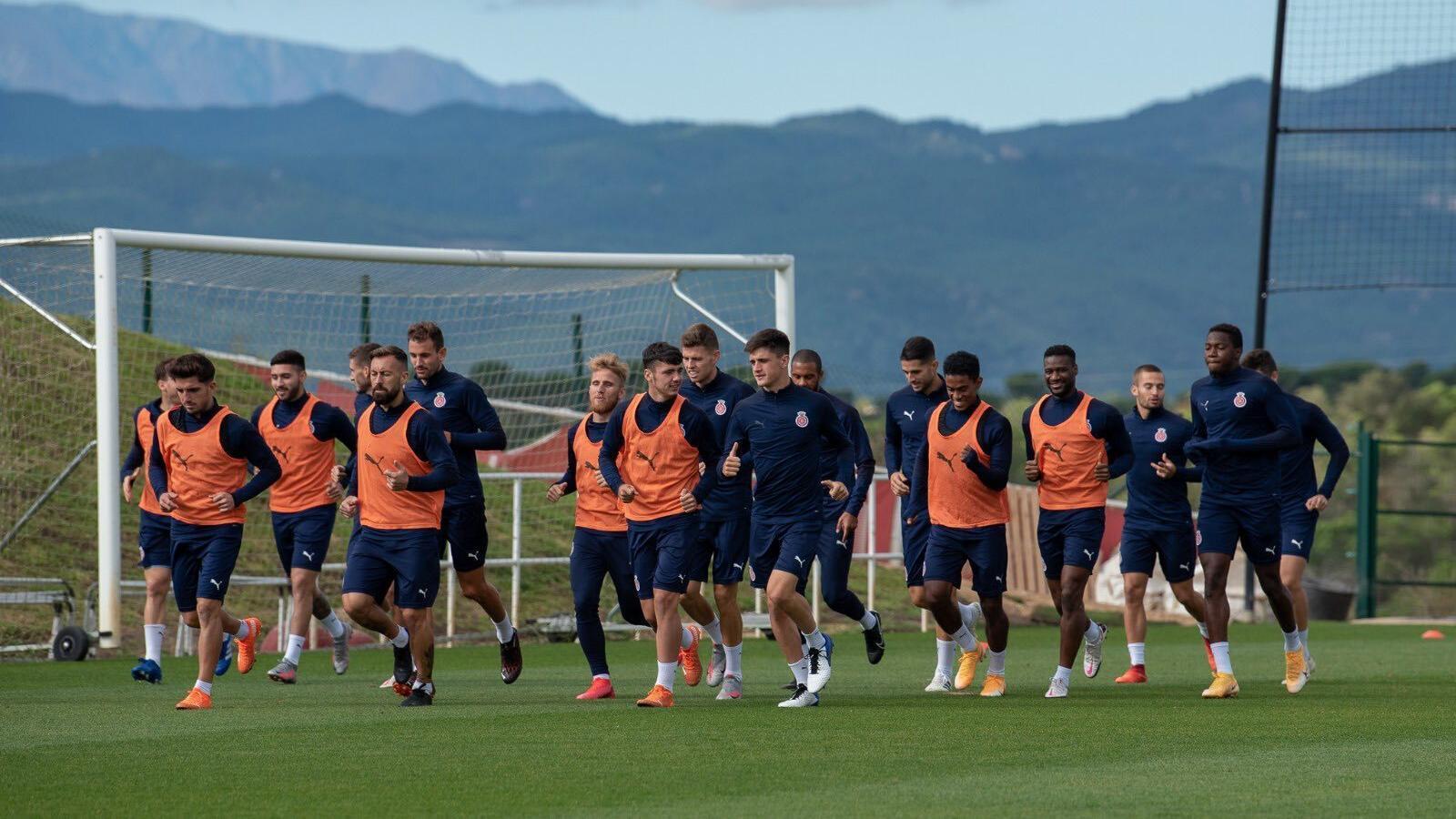 Els jugadors del Girona, en un entrenament