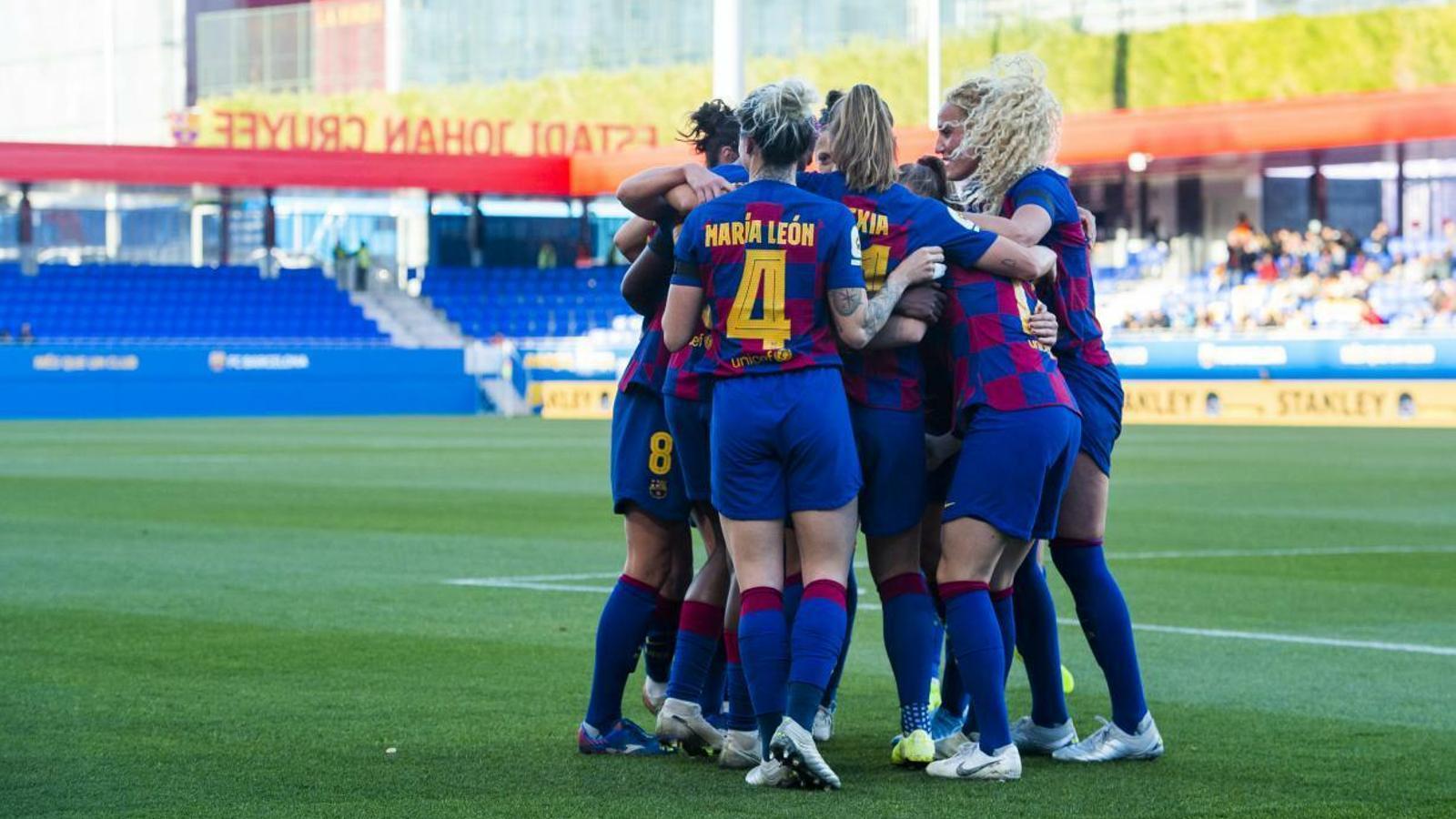 Les jugadores del Barça celebren un gol