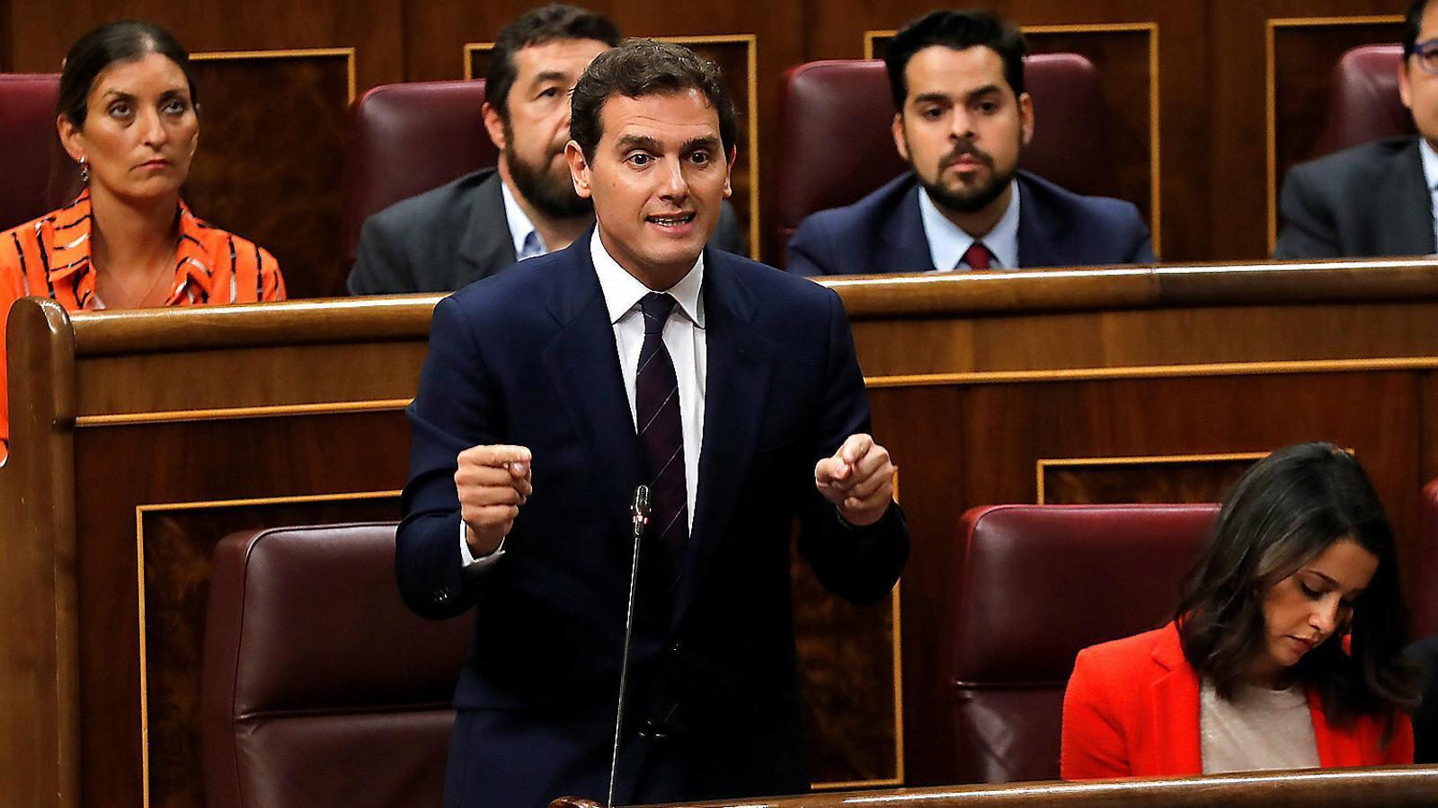 Albert Rivera ahir durant la seva intervenció al Congrés de Diputats.