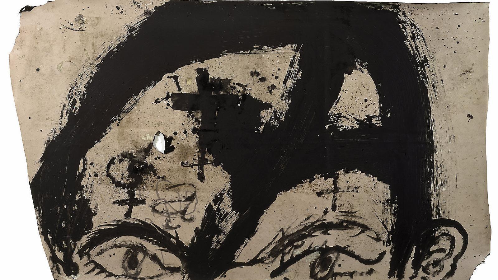 Cara, una de les obres de la sèrie d'Antoni Tàpies Certeses sentides.