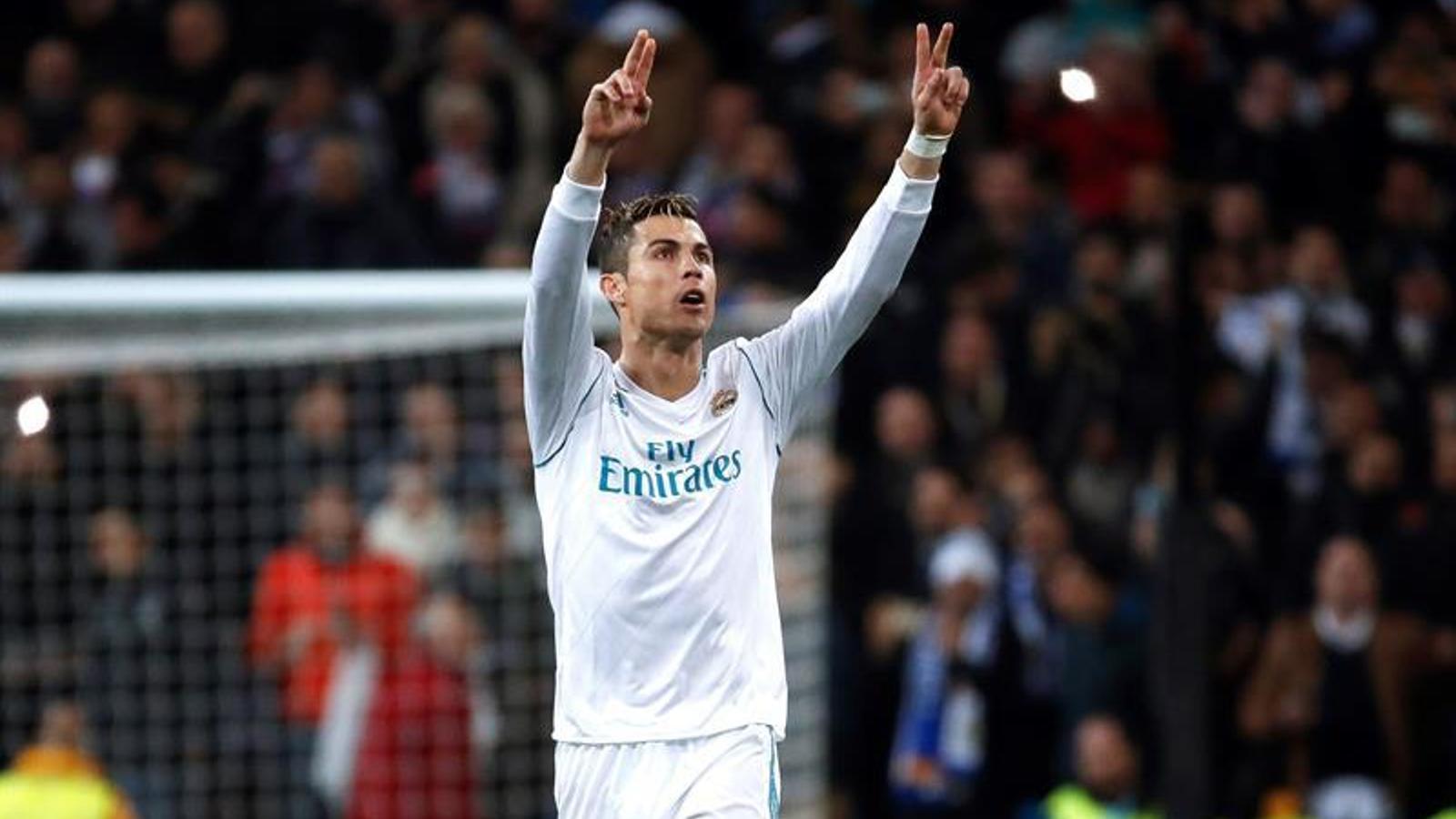 Cristiano, celebrant el gol de l'empat contra el PSG