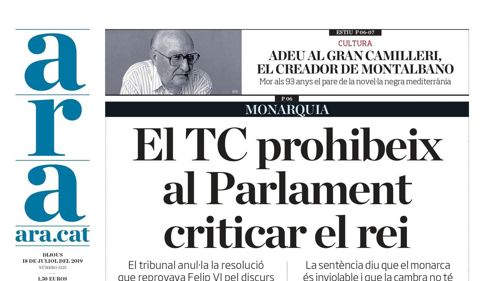 """""""El TC prohibeix al Parlament criticar el rei"""", la portada de l'ARA"""