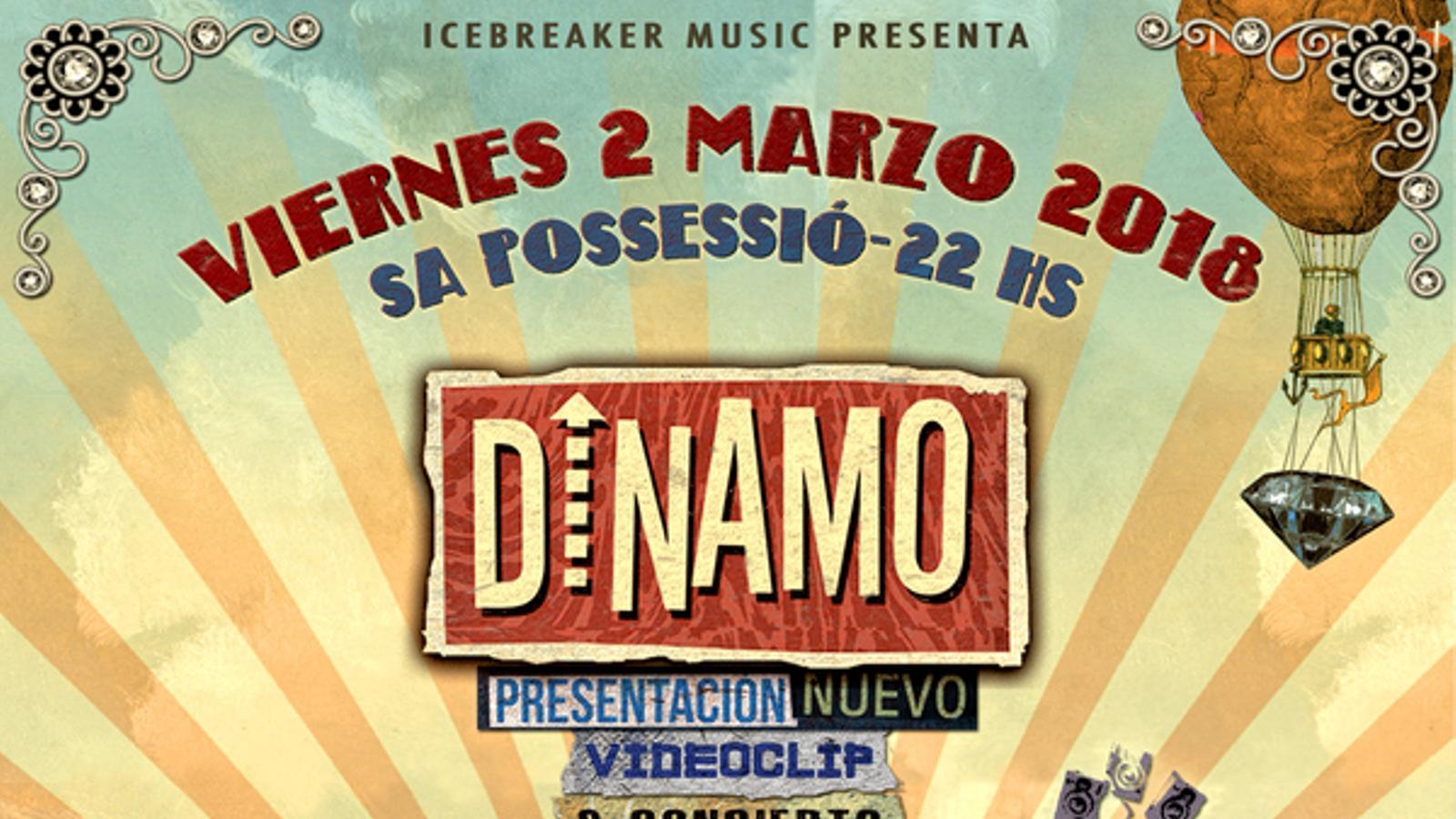 Cartell de l'actuació de Dinamo, Flordhiguera i Raices Sonoras.