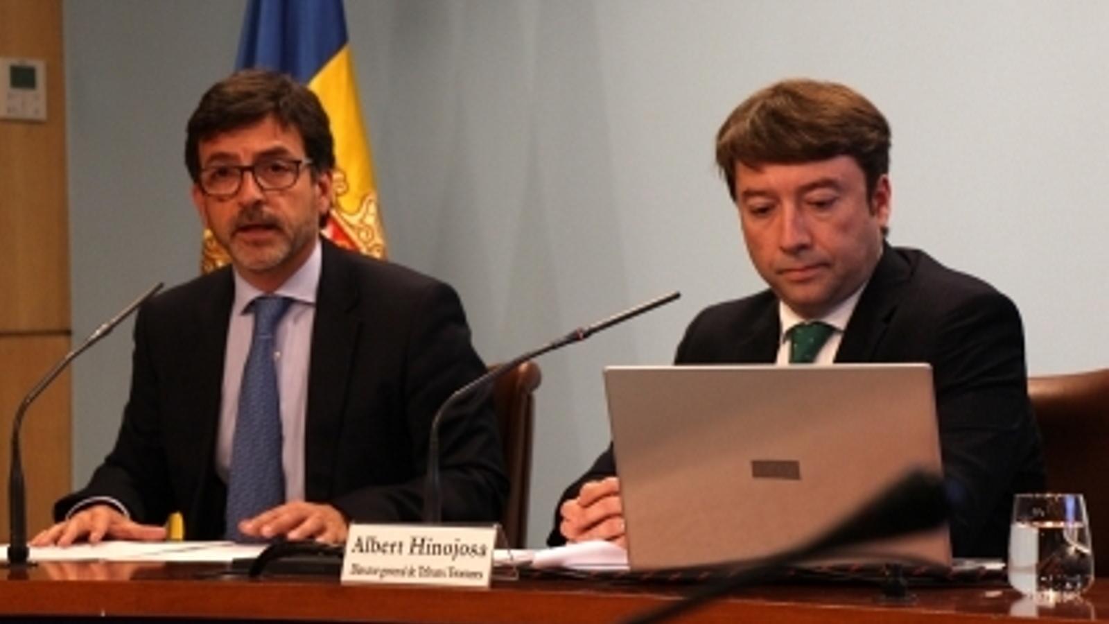 El ministre de Finances en funcions, Jordi Cinca, i el director general del departament de Tributs i Fronteres, Albert Hinojosa, durant la roda de premsa posterior al consell de ministres en què han explicat el pla d'actuacions. / M. F.