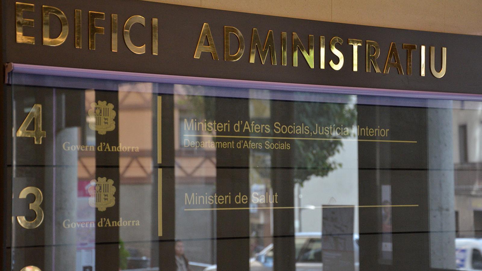 L'entrada del ministeri de Salut, a l'edifici Clara Rabassa. / M. M. (ANA)