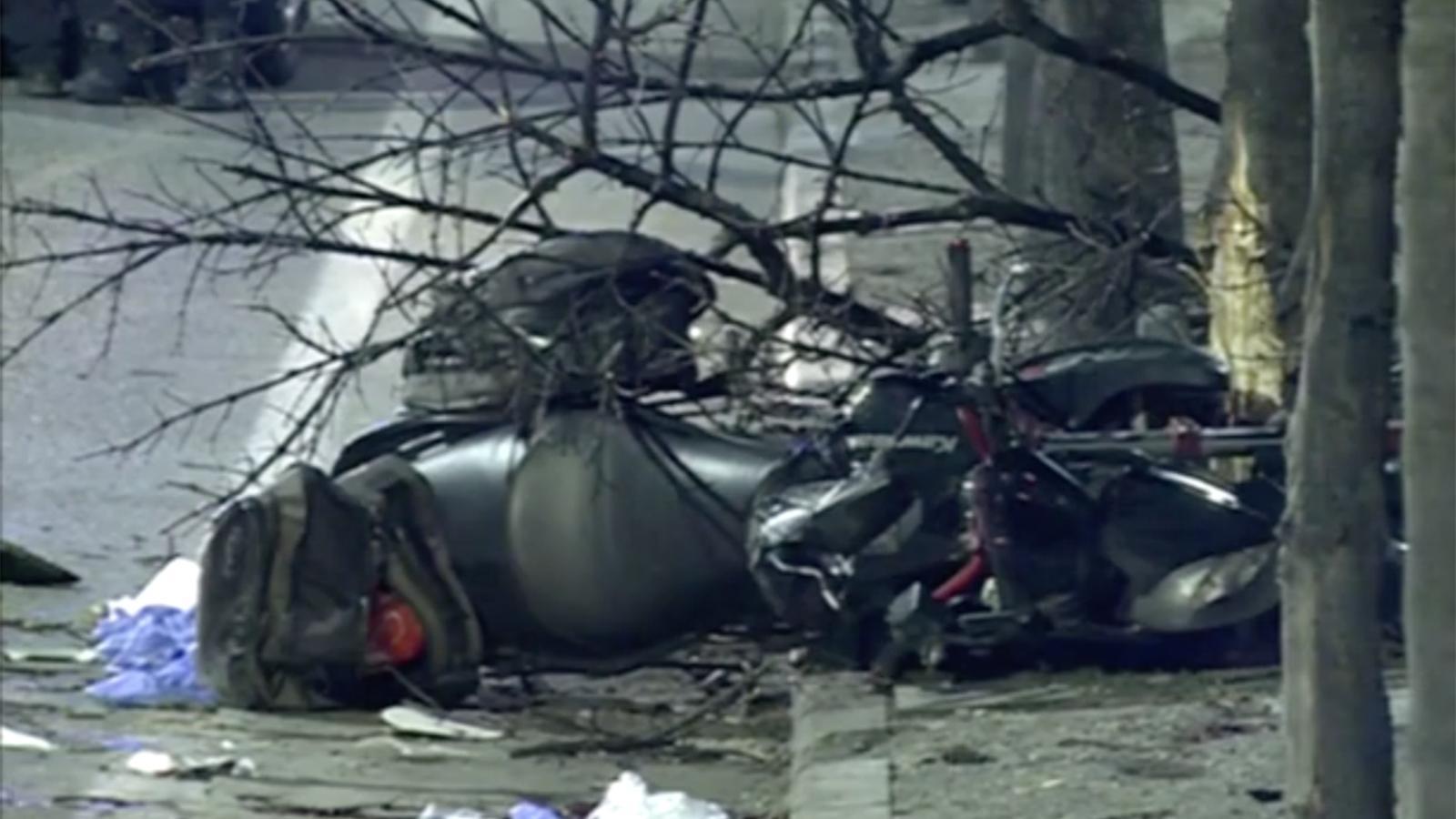 Estat en què va quedar la moto accidentada. / RTVA