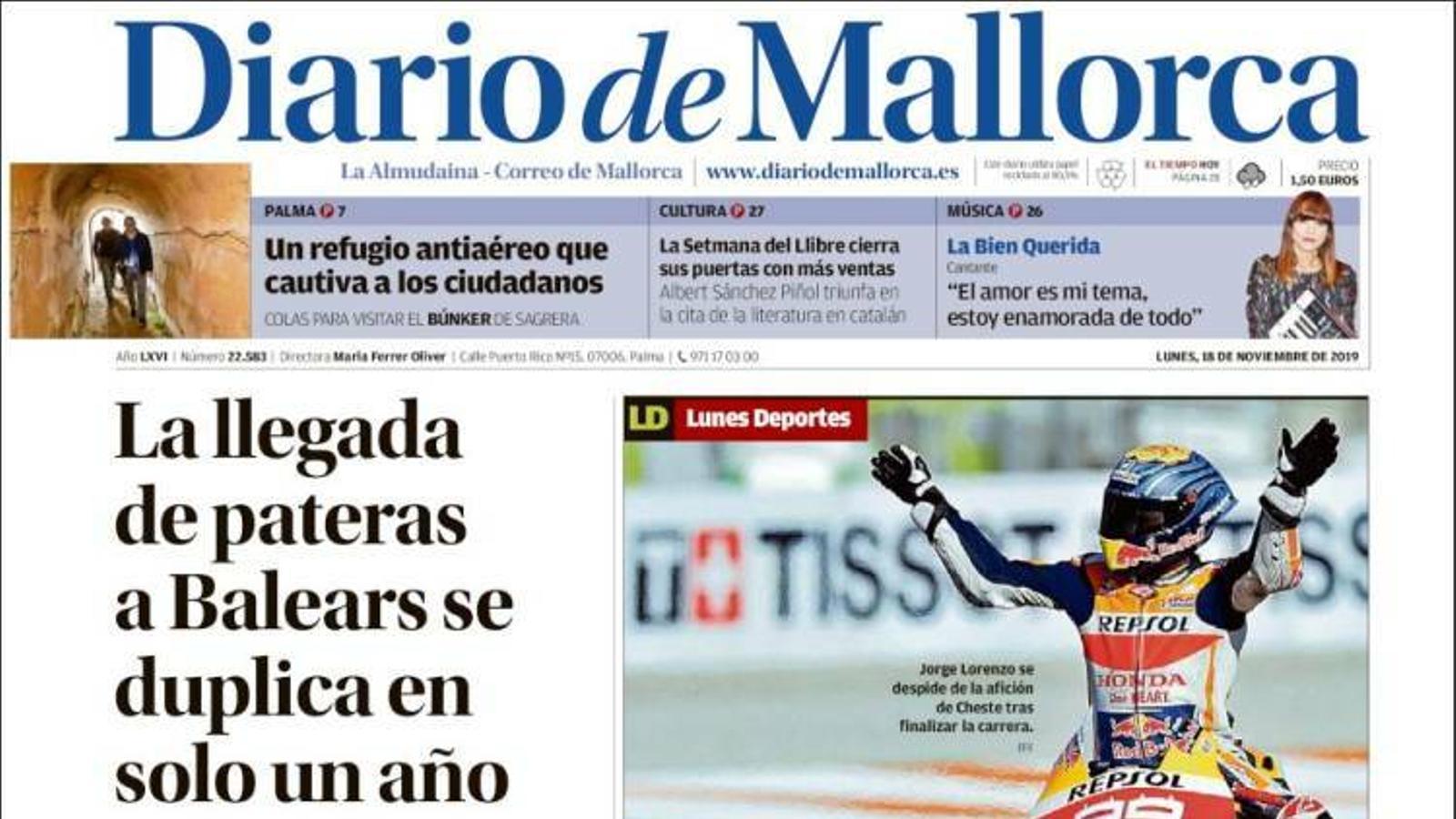 """""""L'arribada de pasteres a les Balears es duplica en un sol any"""", portada de 'Diario de Mallorca'"""
