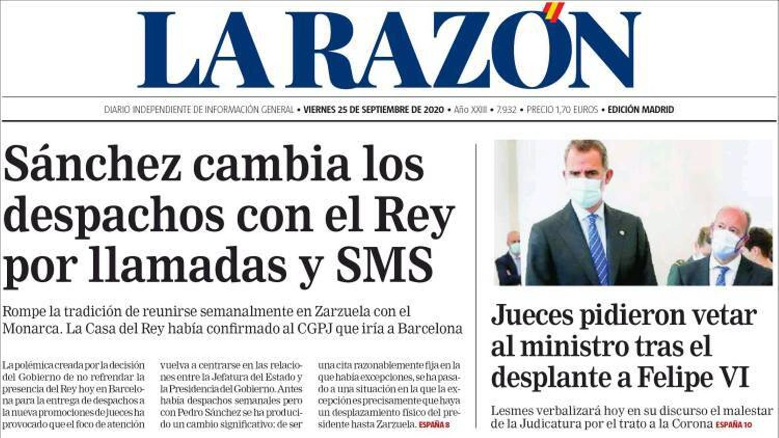 Portada de La Razón, 25 de setembre del 2020