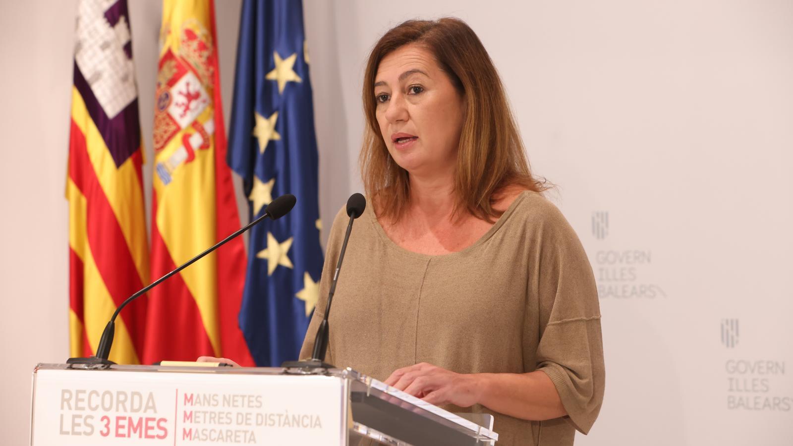 Armengol anuncia el toc de queda a les  Balears a partir d'aquest diumenge a les 23 h