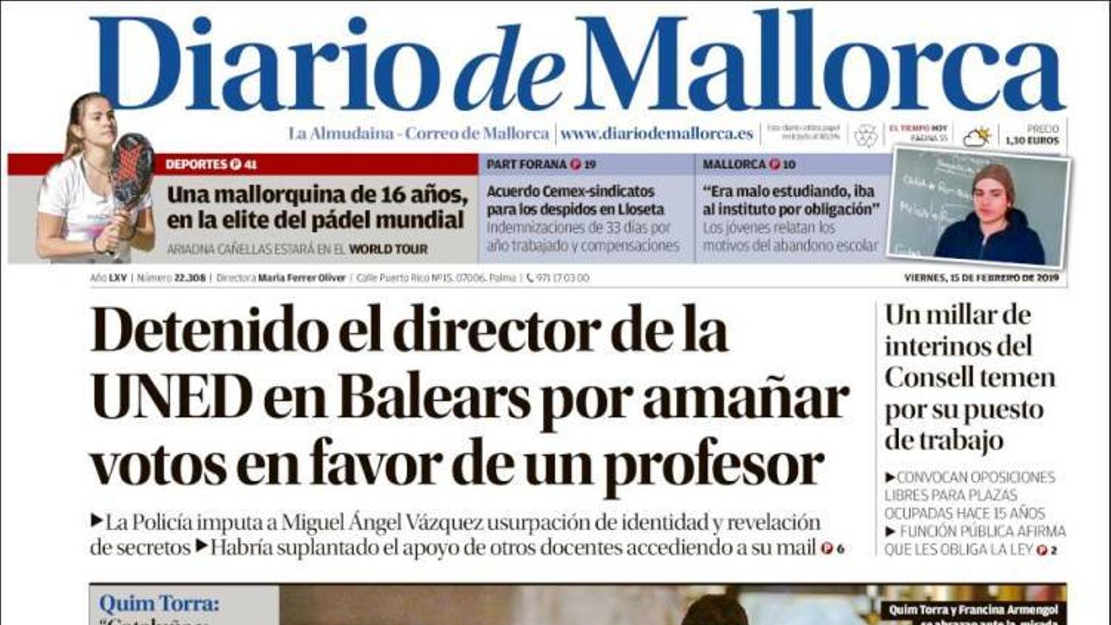 """""""Detingut el director de laUNEDaBalearsper falsejar vots en favor d'un professor"""", portada de 'Diario de Mallorca'"""