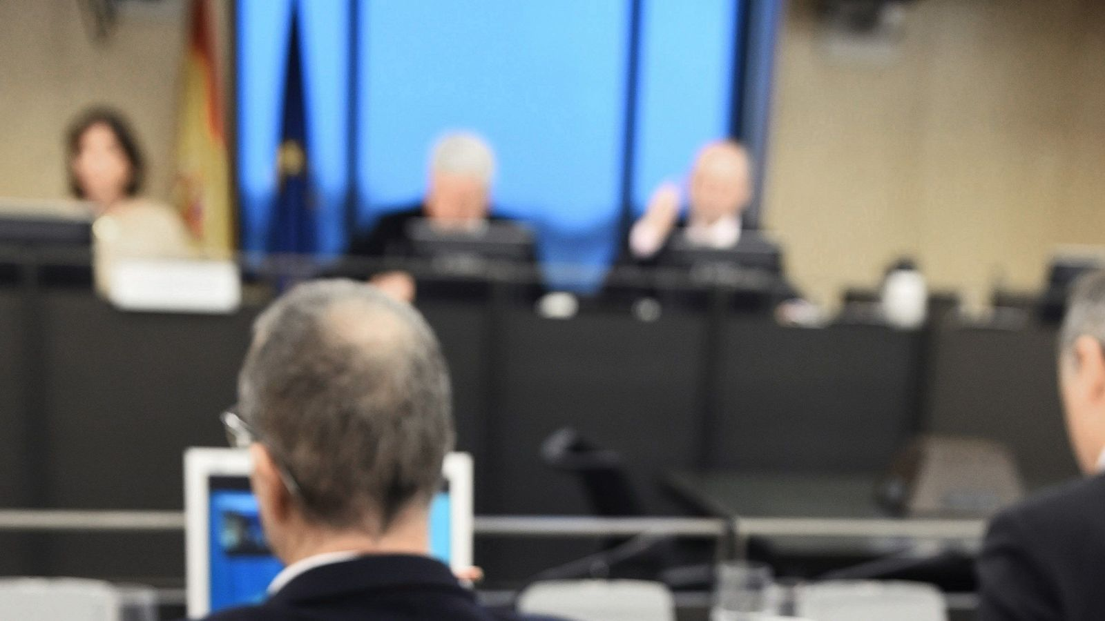Jaume Matas, declarant en videoconferència des de la presó a la comissió d'investigació del Congrés sobre el finançament il·legal del PP