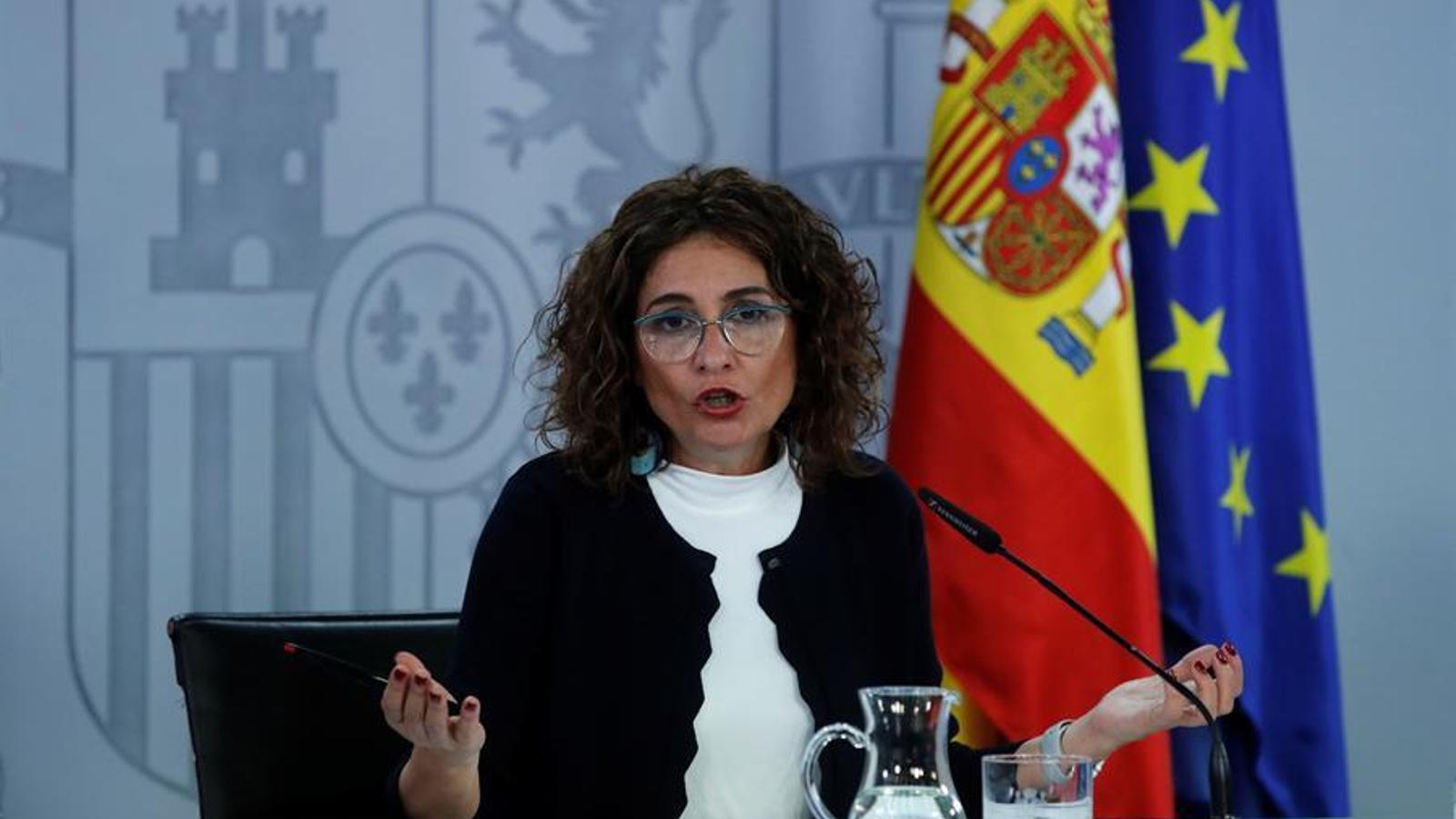 La ministra d'Hisenda, Maria Jesús Montero, durant la roda de premsa posterior al consell de ministres d'aquest dimarts.
