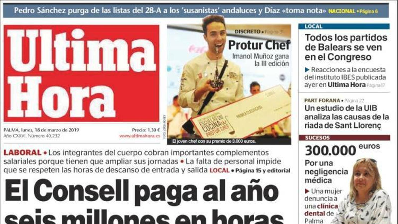 """""""La dreta retrocedeix però suma"""", portada a 'La Razón'"""