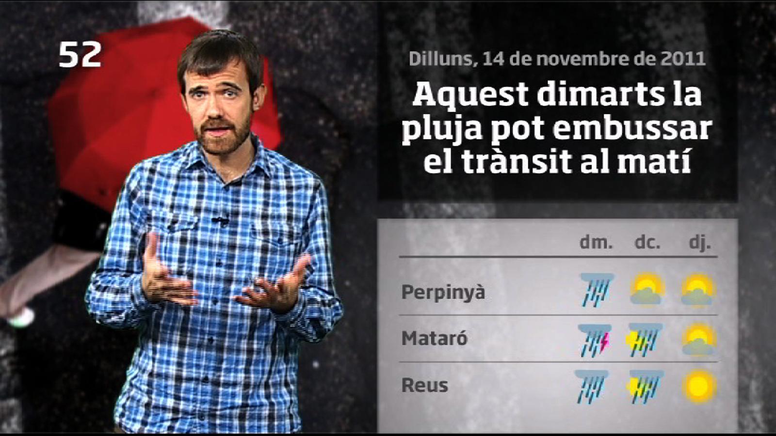 La méteo en 1 minut: dimarts de pluges generals i intenses (15/11/2011)