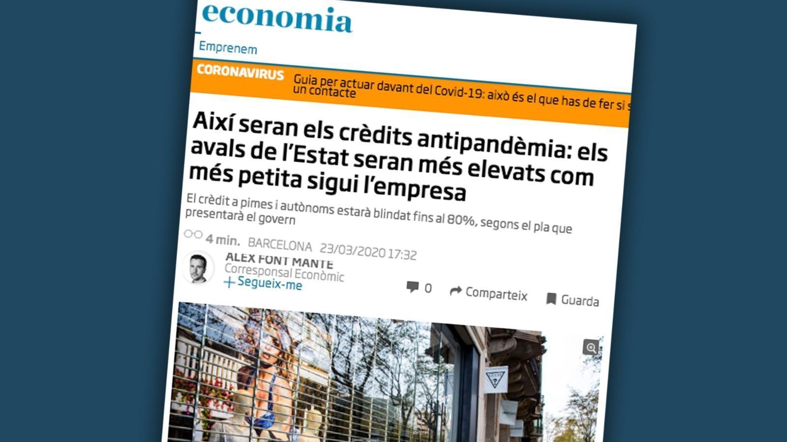 Com seran els crèdits a autònoms i pimes: les claus del vespre amb Antoni Bassas (23-03-2020)