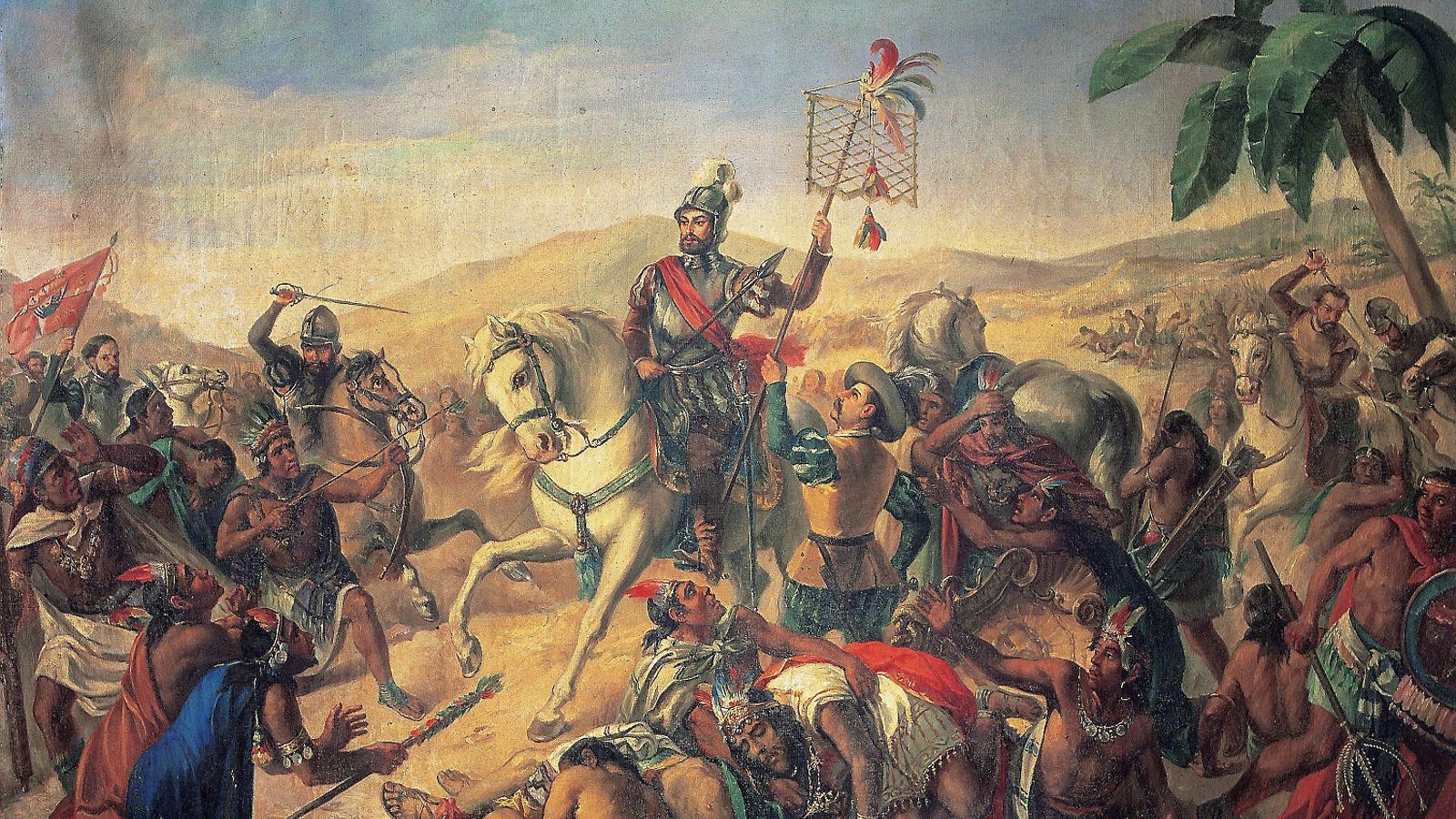 Pintura anònima sobre la batalla d'Otumba, el 1529, durant les campanyes d'Hernán Cortés a Mèxic.