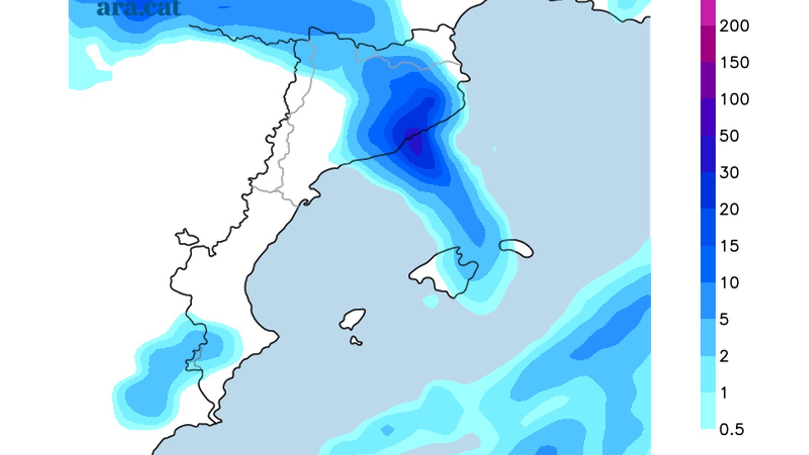Acumulació de pluja prevista per aquest diumenge