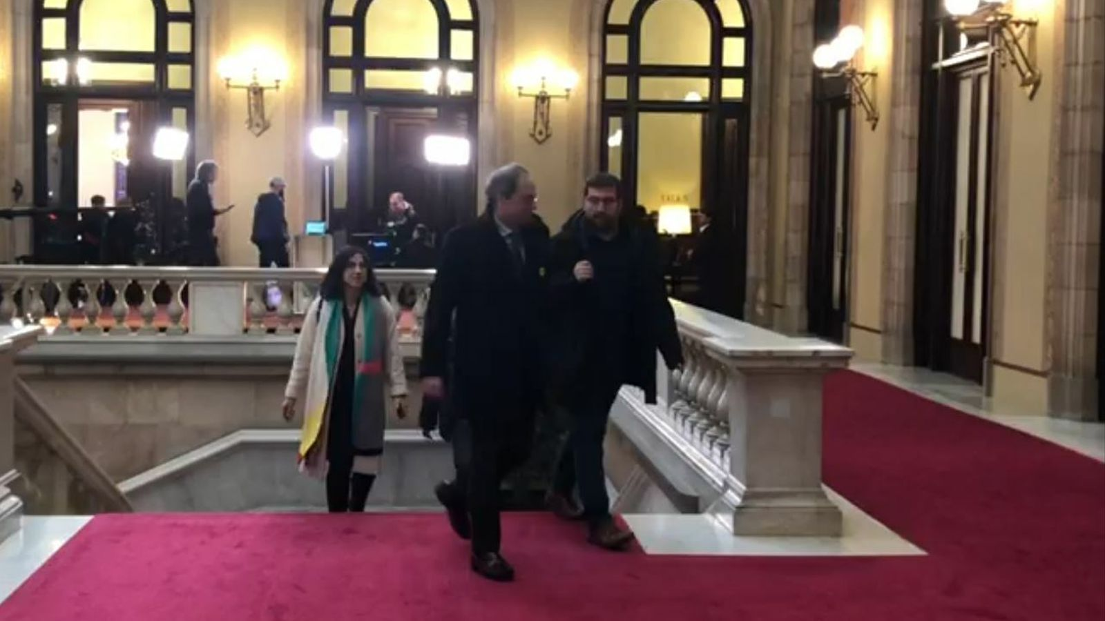 El president Quim Torra arriba al Parlament en un moment de màxima tensió entre JxCat i ERC per la retirada del seu escó