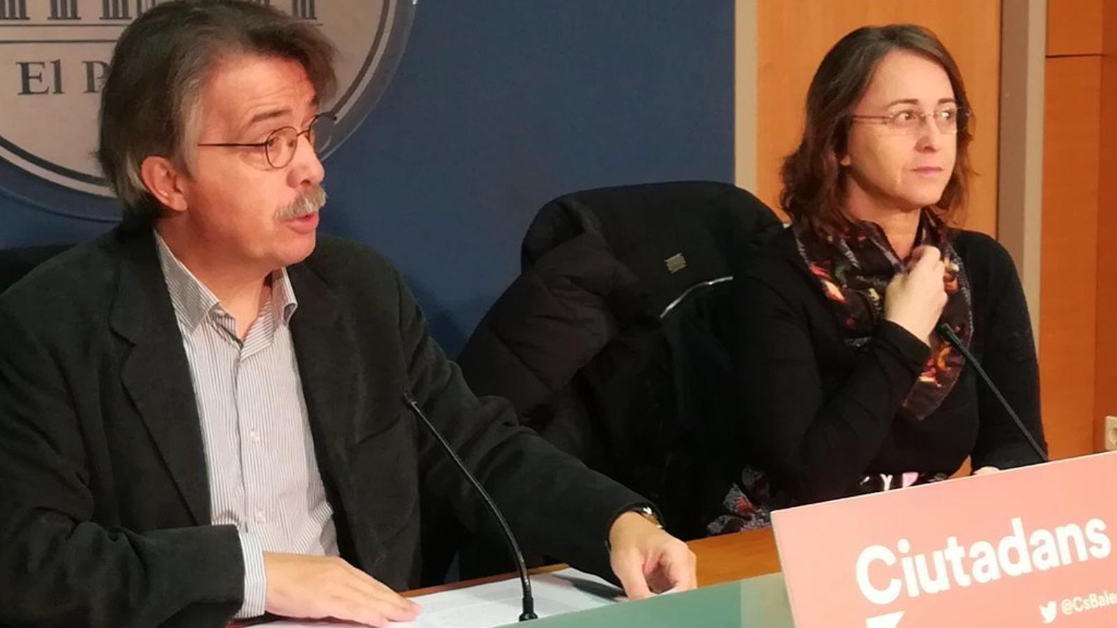 Els diputats de Ciutadans, Xavier Pericay i Olga Ballester, aquest dilluns al Parlament.