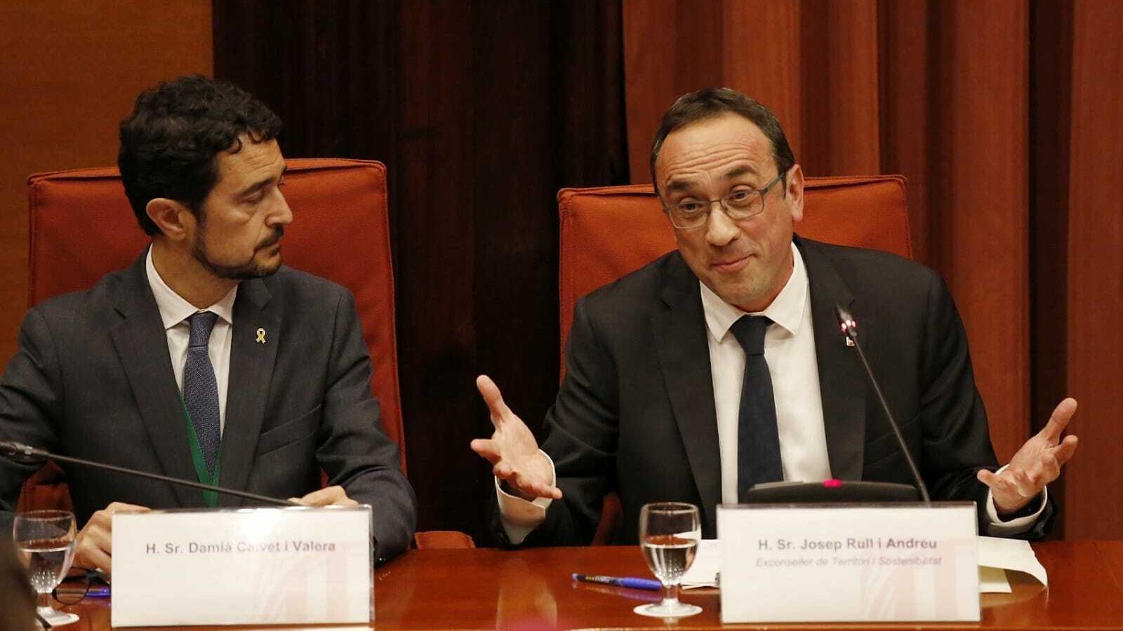 Josep Rull en la compareixença d'aquesta tarda al Parlament