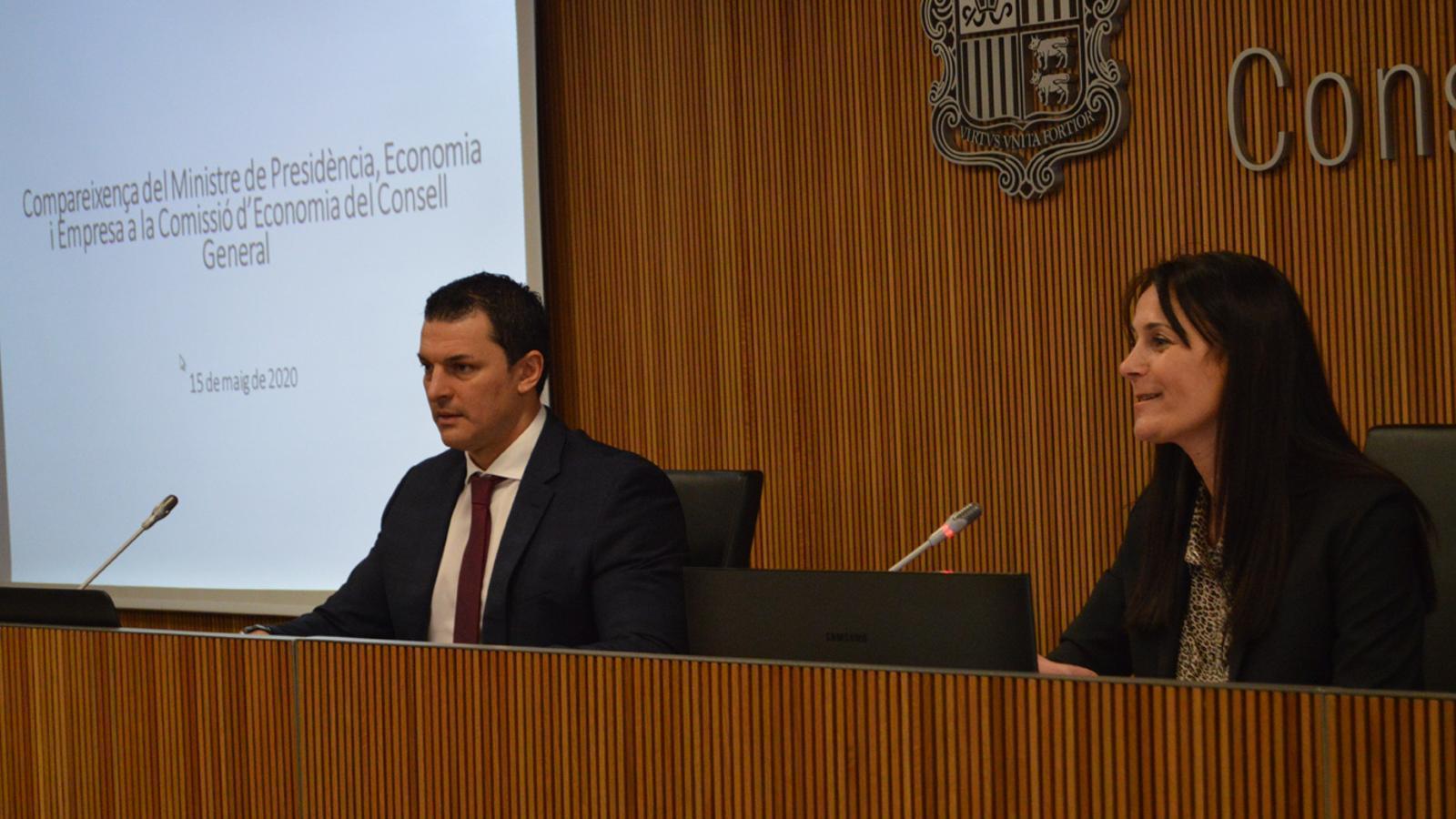 El ministre de Presidència, Economia i Empresa, Jordi Gallardo, durant la seva comareixença al davant de la comissió legislativa d'Economia. / M. F. (ANA)