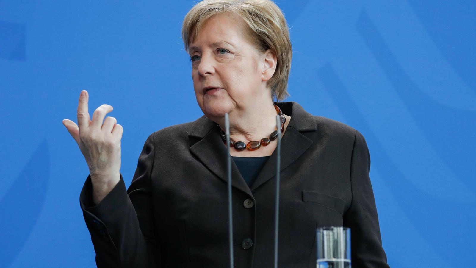 Angela Merkel en una roda de premsa a la cancelleria de Berlín