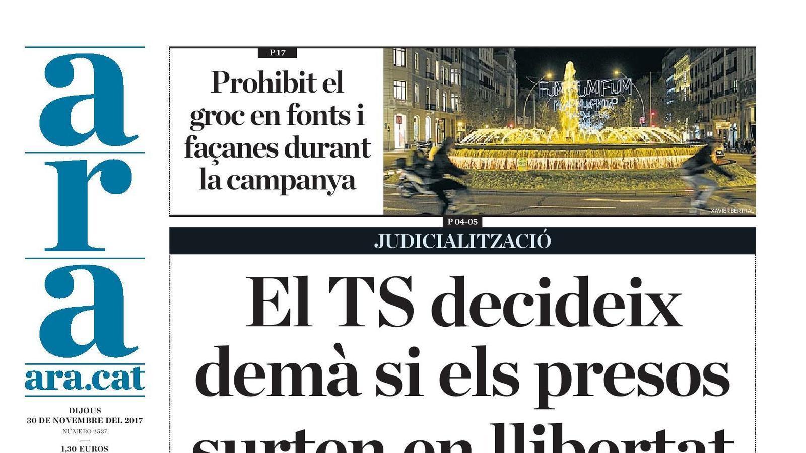 """""""El TS decideix demà si els presos surten en llibertat"""", portada de l'ARA"""