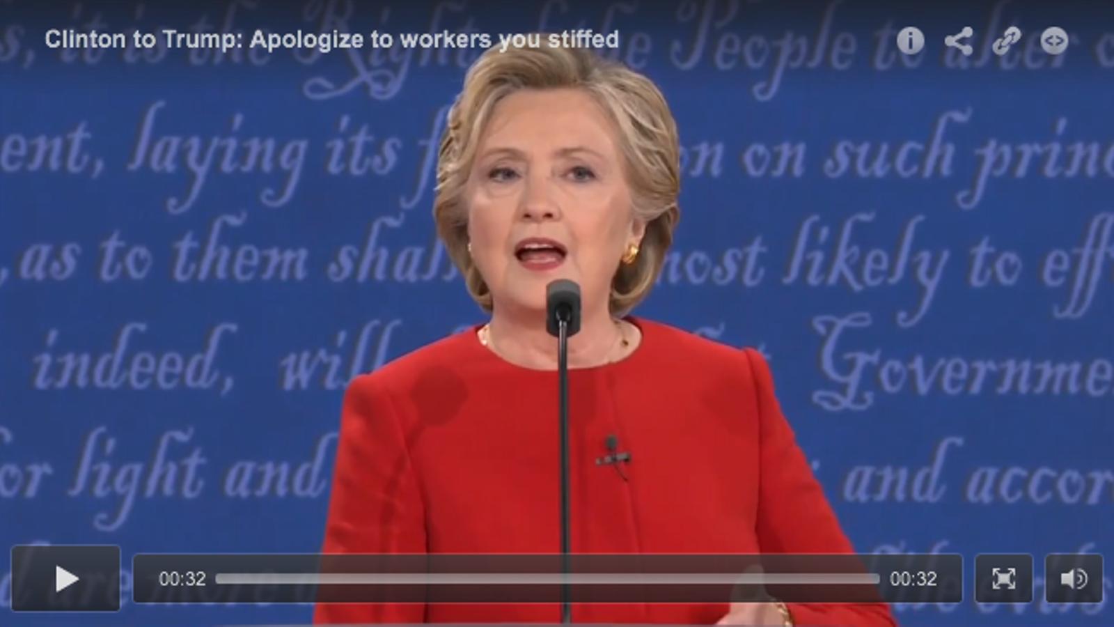 Clinton retreu a Trump que no hagi pagat a treballadors que han fet feina per ell.