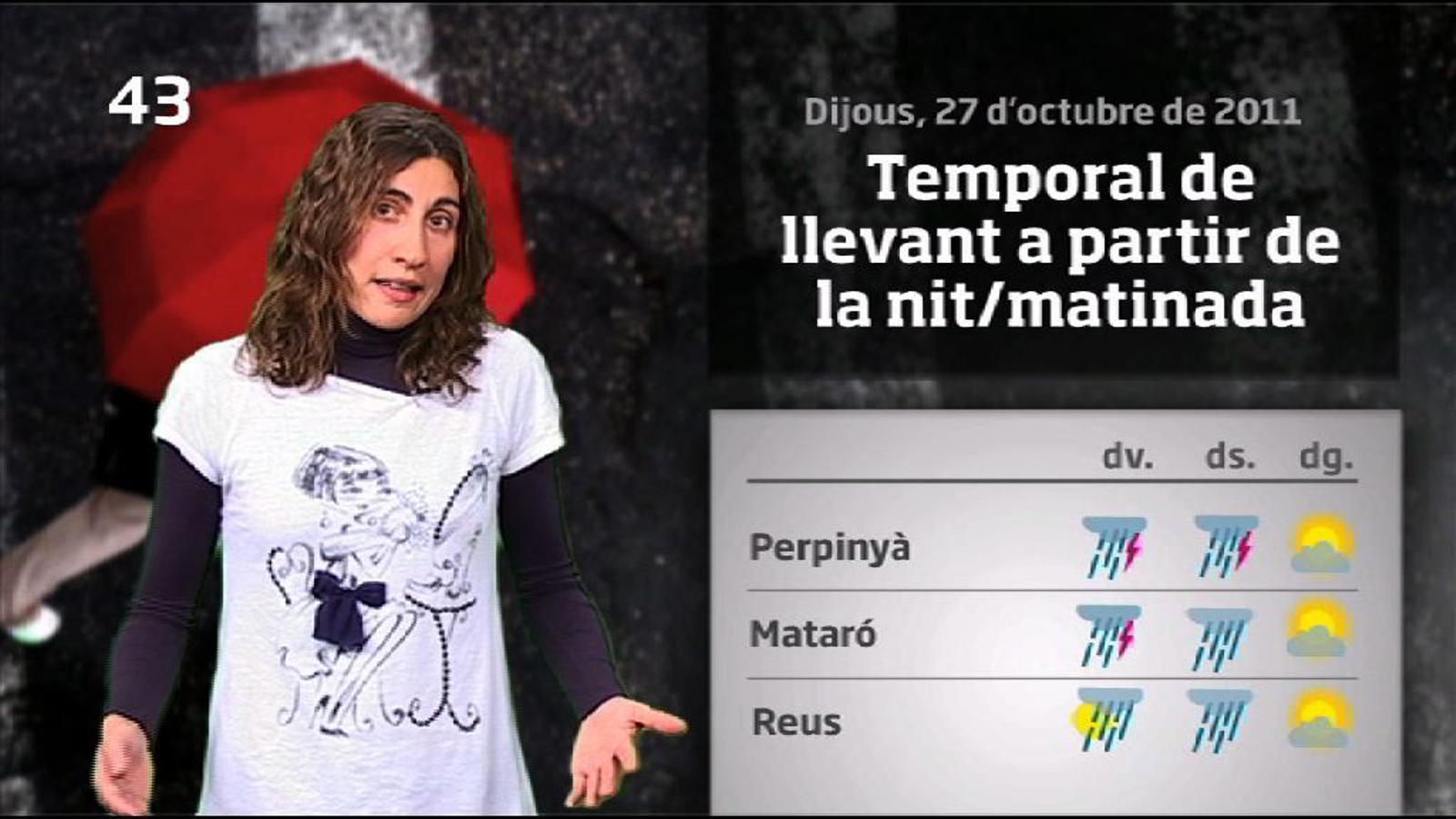 La Méteo en 1 minut: Temporal de llevant amb pluges abundants i intenses fins dissabte (27/10/2011)