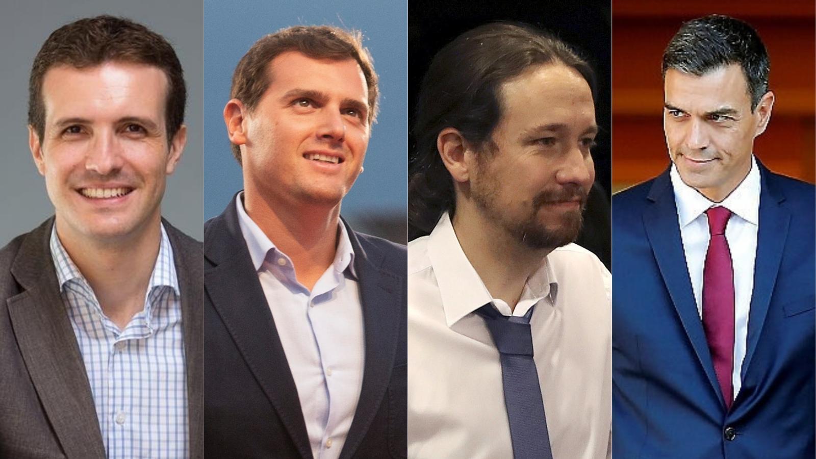 Els quatre líders del grans partits espanyols: Pablo Casado (PP), Albert Rivera (Cs), Pablo Iglesias (Podem) i Pedro Sánchez (PSOE).