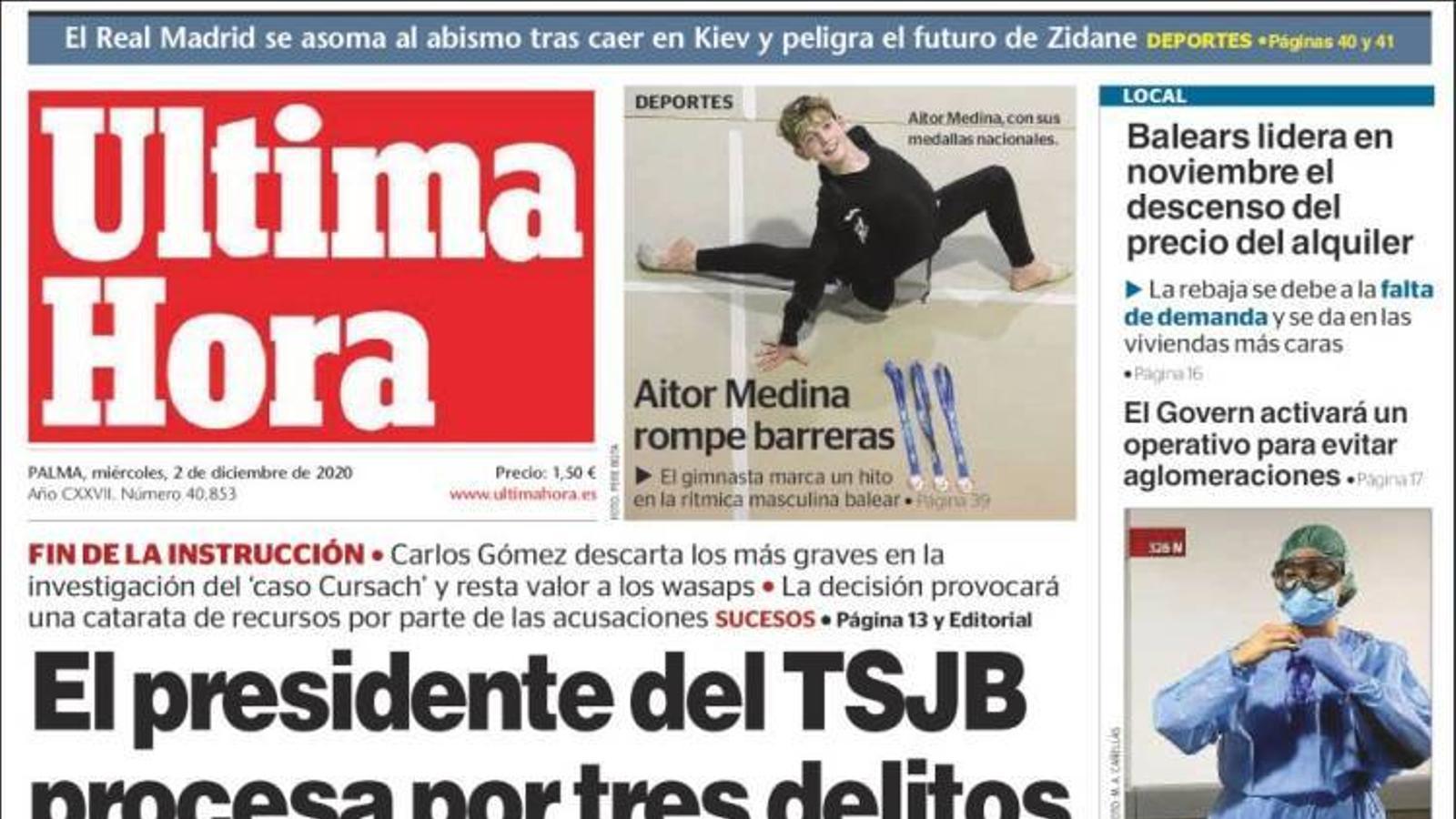 """""""El president del TSJB processa per tres delictes Penalva i Subirán"""", portada d''Última Hora'"""