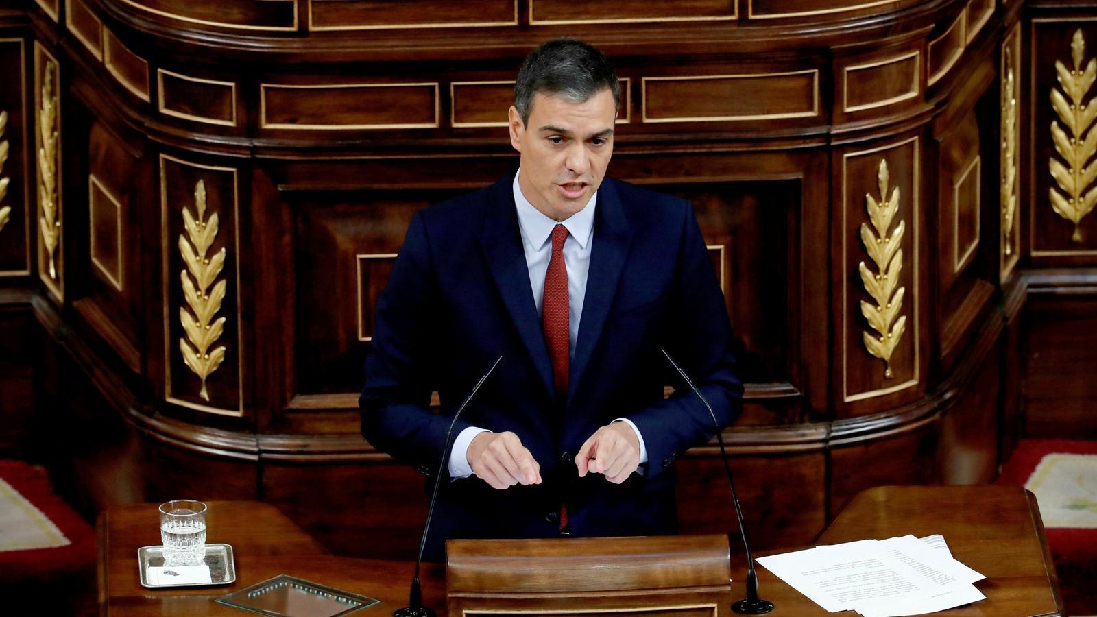 El president espanyol en funcions i candidat a la investuidura, Pedro Sánchez, aquest dilluns al Congrés
