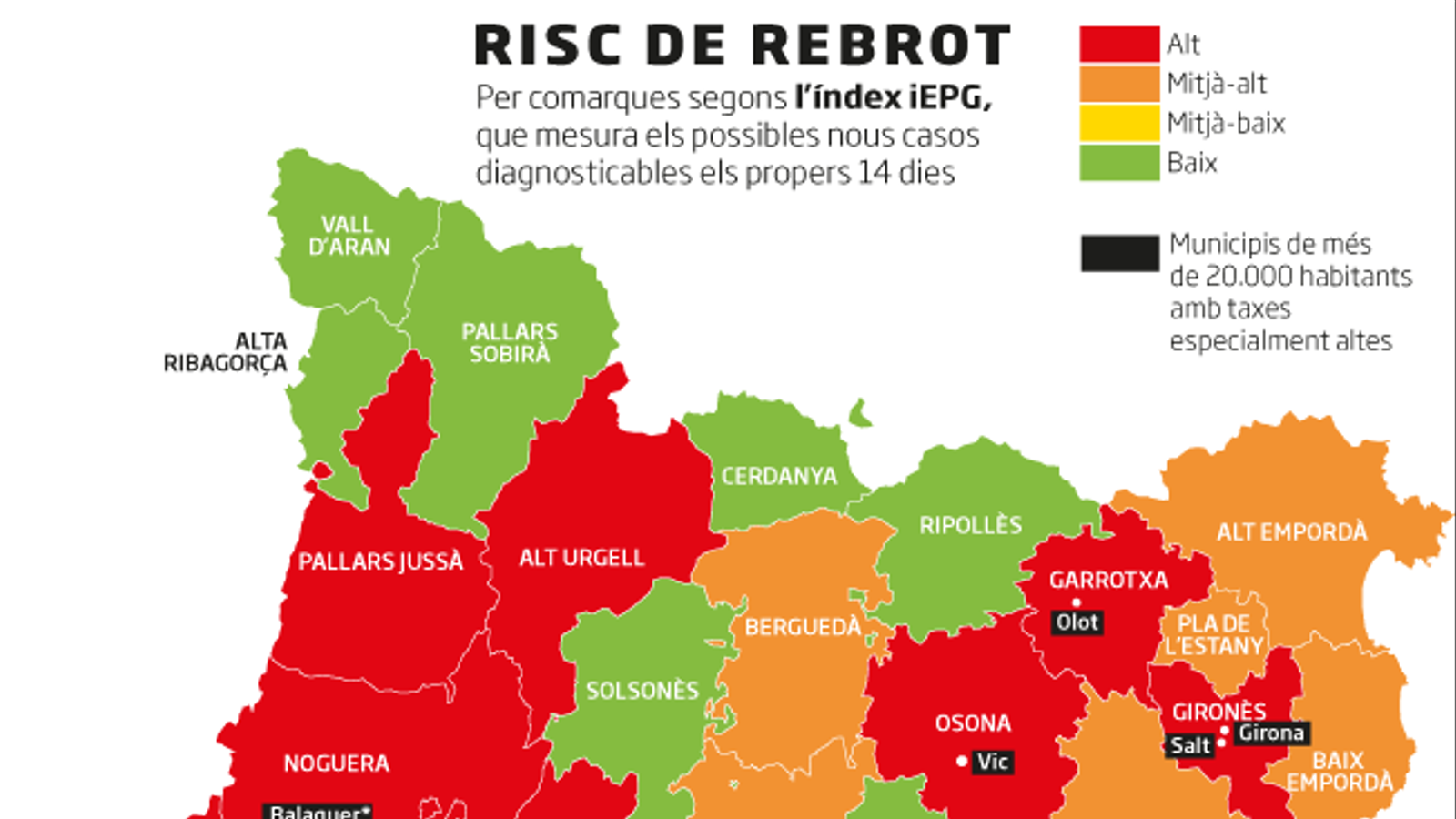 Catalunya es tenyeix de vermell