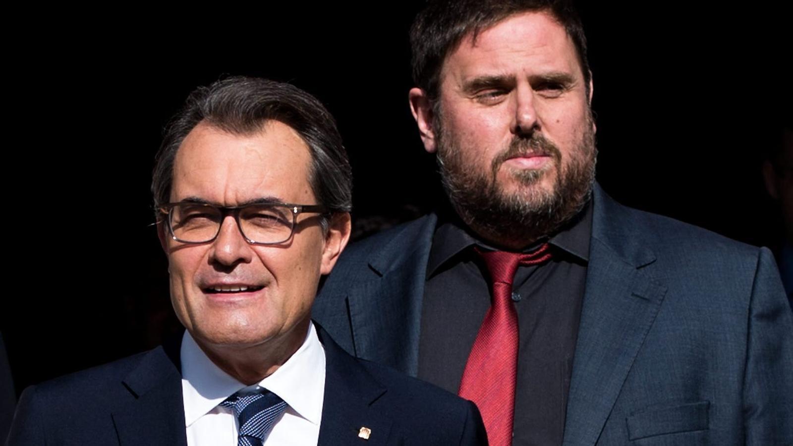 L'expresident de la Generalitat Artur Mas i l'actual vicepresident del Govern, Oriol Junqueras.