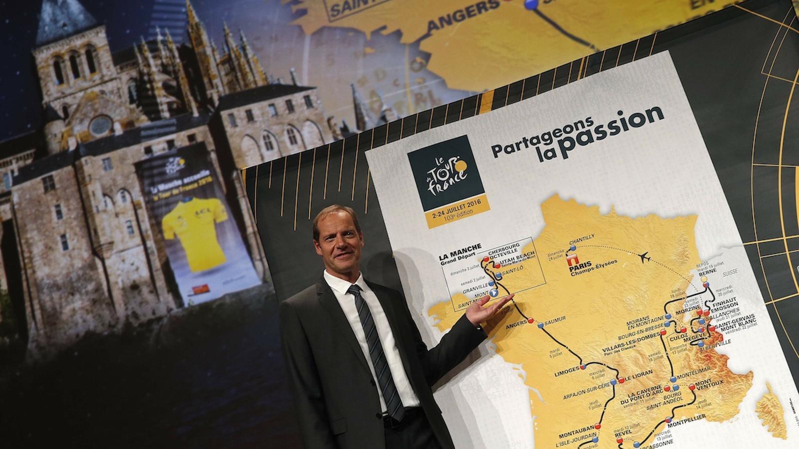 El director del Tour de França, Christian Prudhomme, durant la presentació del recorregut del 2016 / CHRISTIAN HARTMANN / REUTERS