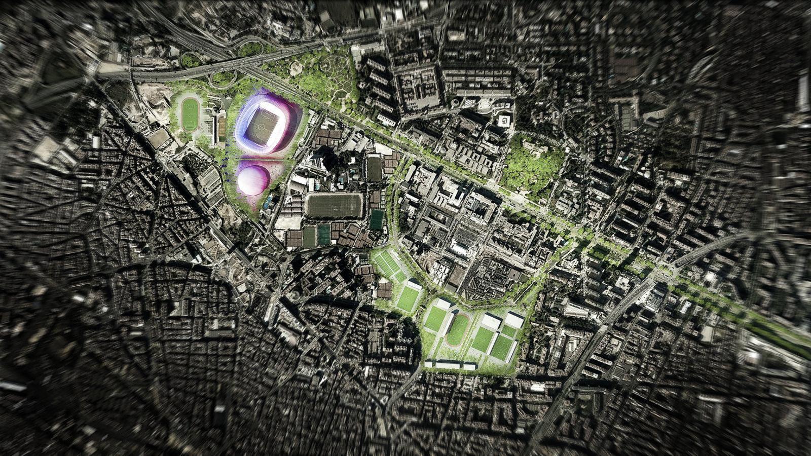 1. Recreació del nou estadi culer a la Diagonal. 2. Plànol de la ciutat, amb la permuta entre l'UB Esports i el Barça.